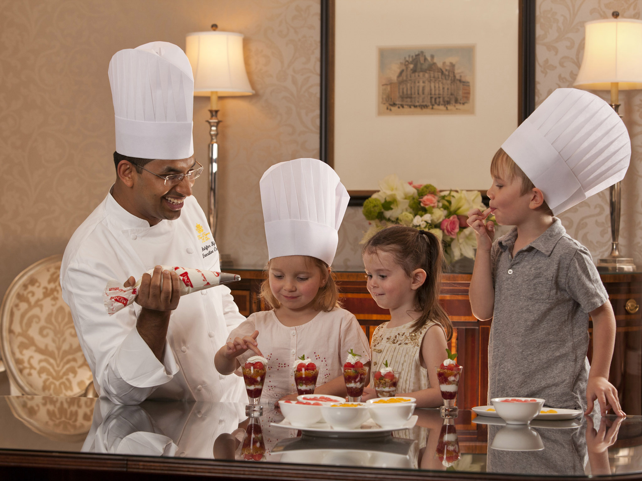 Kids with Chef at Taj
