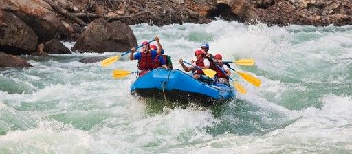 Group of people rafting in Ganges River, Rishikesh, Uttarakhand, India