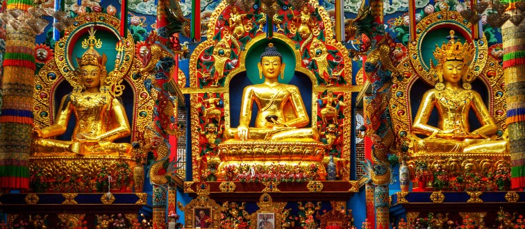 DNGFAC Giant Golden Buddhist statues at Coorg, India