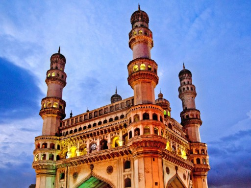 D9K7KC Low angle view of Charminar, Hyderabad, Andhra Pradesh, India