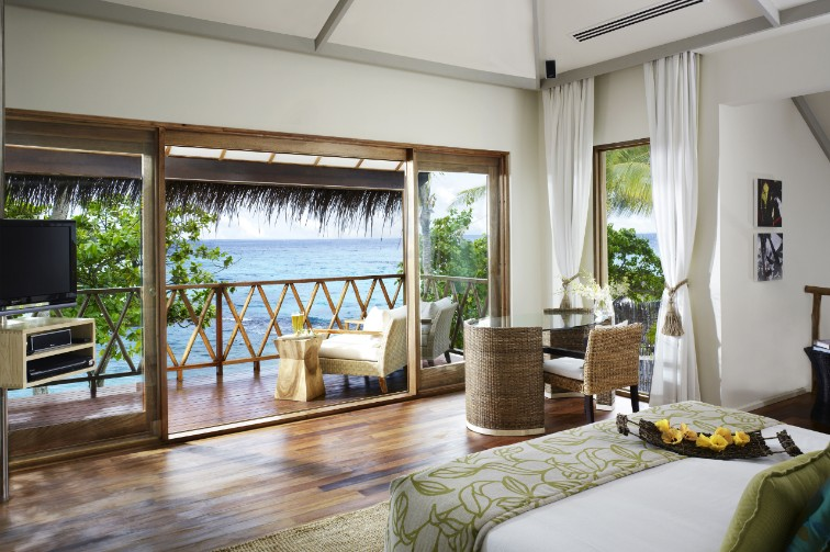 Nirvana Suite Bedroom at Taj Coral Reef Resort & Spa, Maldives