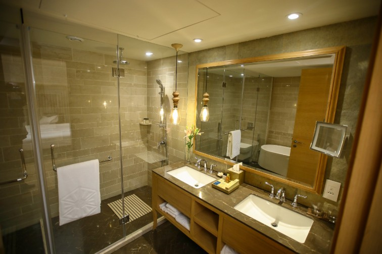 Luxury Suite Sea View Bathroom at Taj Fishermanâ  s Cove Resort & Spa, Chennai